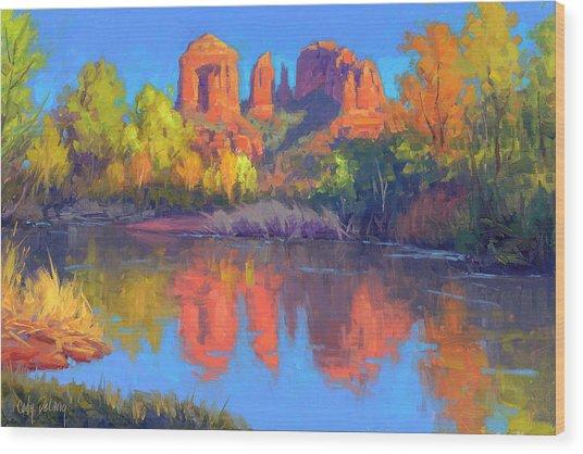 Red Rock Oasis Wood Print