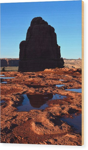 Red Rock Reflection At Sunset Wood Print