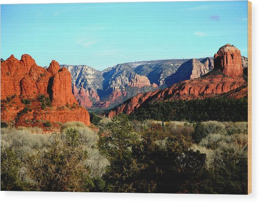 Red Rocks Wood Print by Jennilyn Benedicto