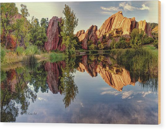 Red Rocks Reflection Wood Print