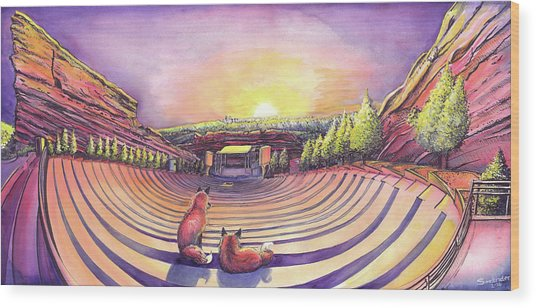 Foxes At Red Rocks Sunrise Wood Print