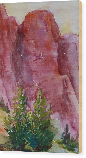 Red Rocks With Two Junipers Wood Print by Sukey Watson