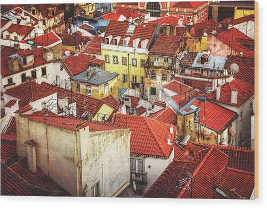 Red Rooftops Of Old Alfama Lisbon  Wood Print
