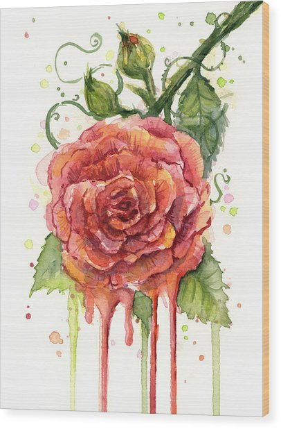 Red Rose Dripping Watercolor  Wood Print