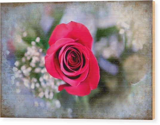 Red Rose Elegance Wood Print