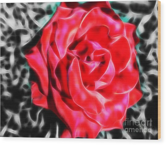 Red Rose Fractal Wood Print