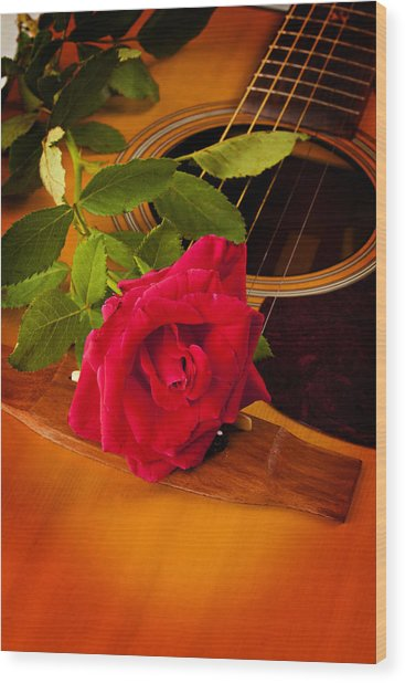 Red Rose Natural Acoustic Guitar Wood Print