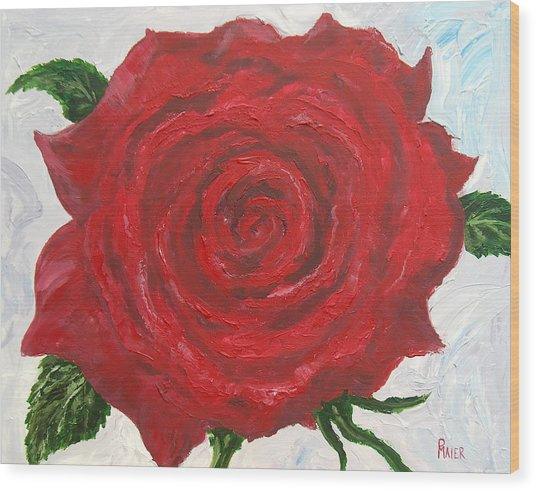 Red Rose Wood Print by Pete Maier