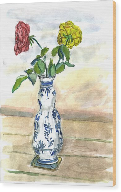 Red Rose Yellow Rose Wood Print