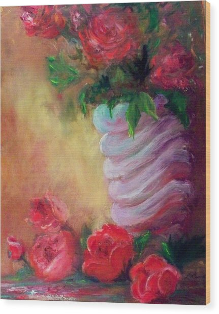 Red Roses For A Blue Vase Wood Print by Lynda McDonald