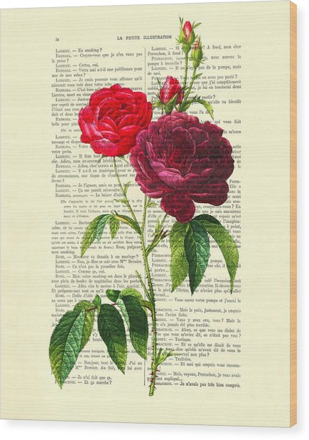 Red Roses For Valentine Wood Print