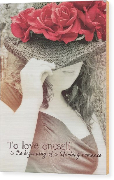 Red Roses Quote Wood Print by JAMART Photography
