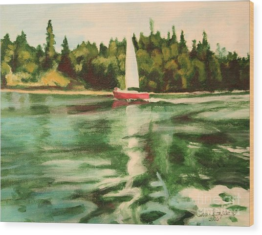 Red Sailboat North End Of Harstene Island Wood Print