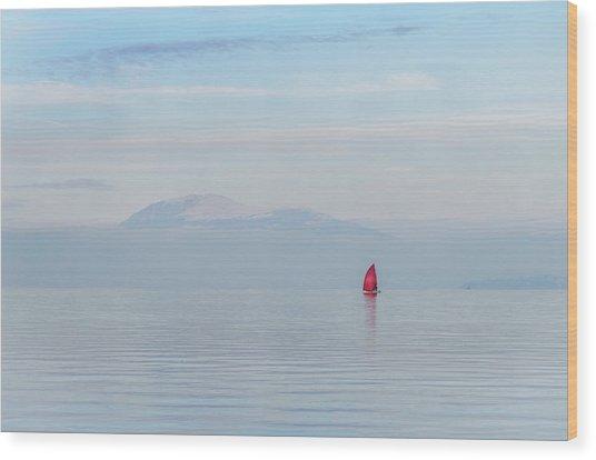 Red Sailboat On Lake Wood Print