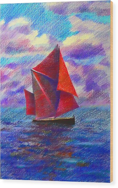 Red Sails Wood Print by Anastasia Michaels