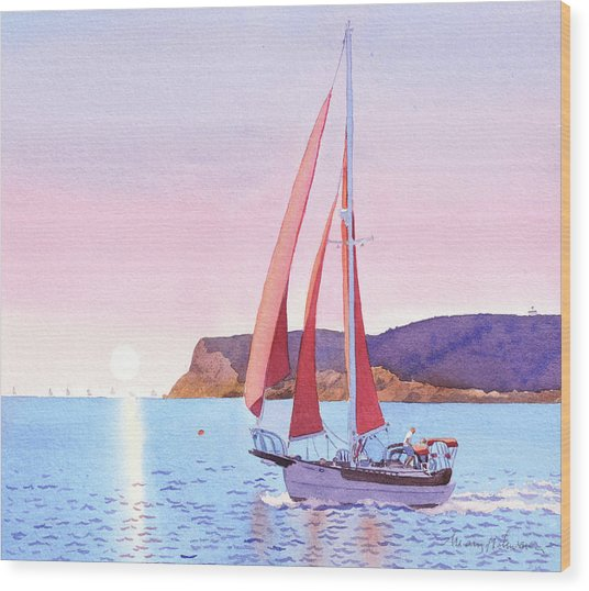Red Sails In The Sunset Pt Loma Wood Print