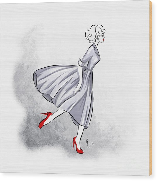 Red Shoes Red Lips Wood Print