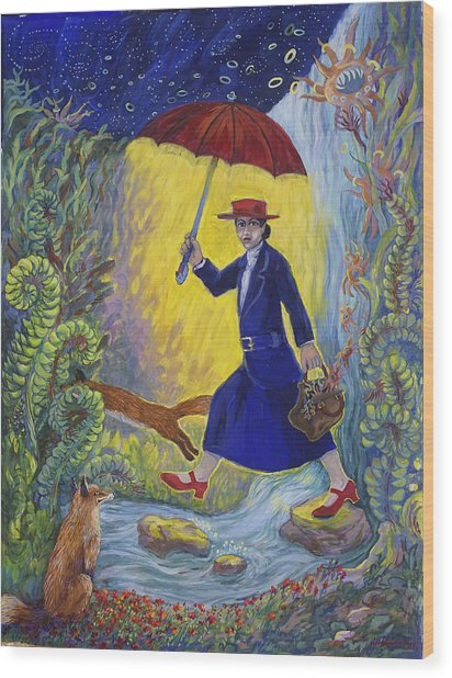 Red Shoes Mary Poppins Wood Print