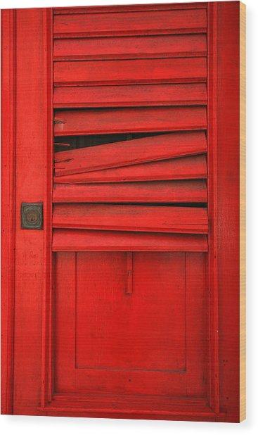 Red Shutter Wood Print