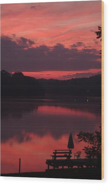 Red Sky At Morning---3 Wood Print by Rich Caperton