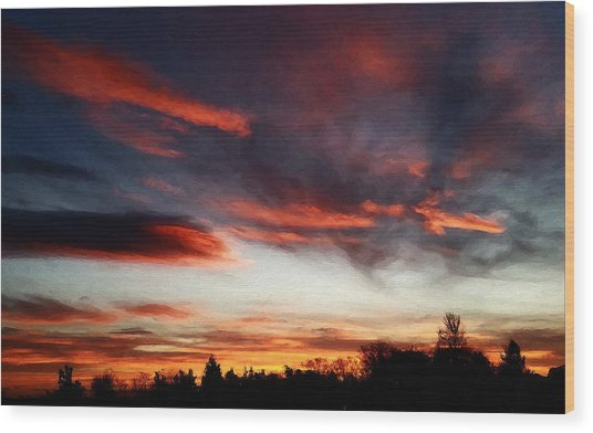 Wood Print featuring the digital art Red Sky by Julian Perry