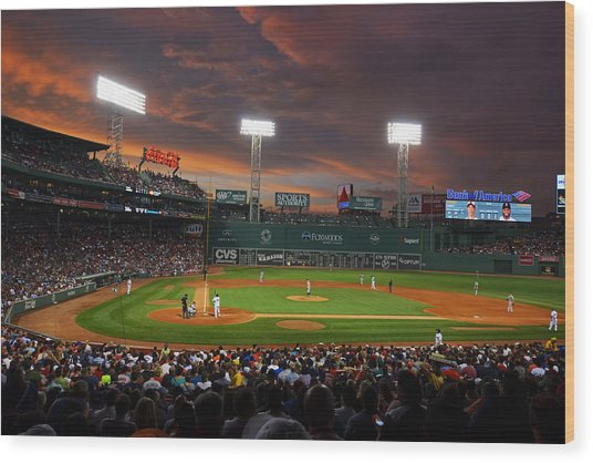 Red Sky Over Fenway Park Wood Print