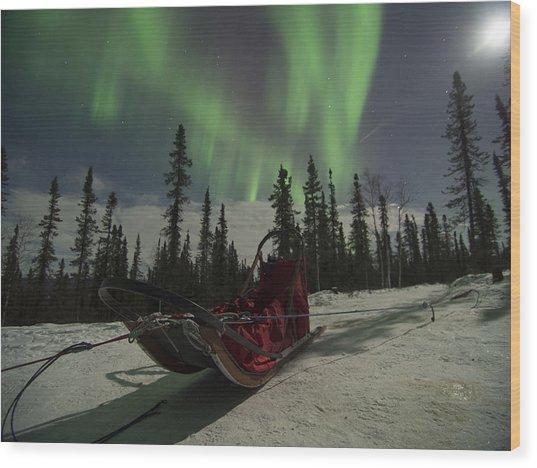 Red-sled Aurora Wood Print
