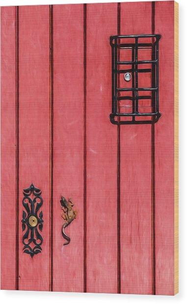 Red Speakeasy Door Wood Print