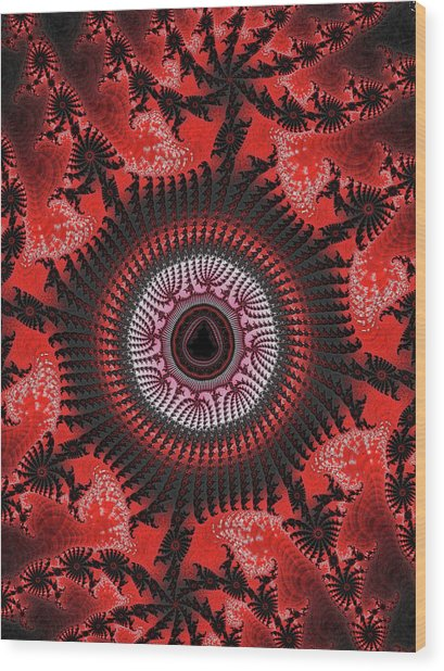 Red Spiral Infinity Wood Print