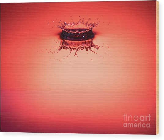 Red Splashdown 2 Wood Print