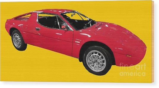 Red Sport Car Art Wood Print