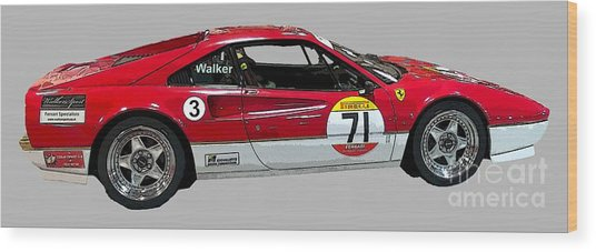 Red Sports Racer Art Wood Print