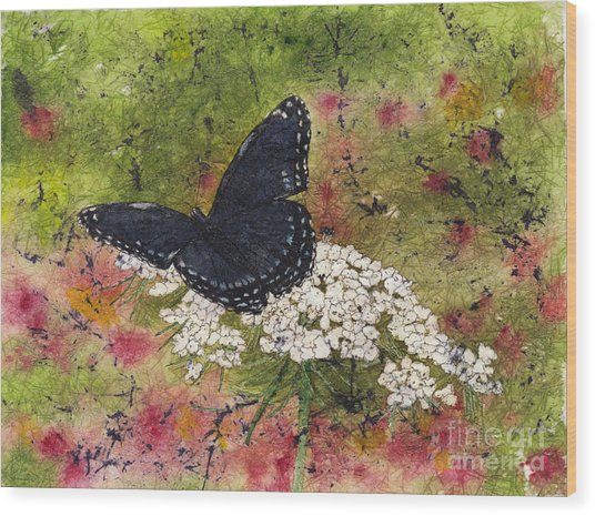 Red Spotted Purple Butterfly Queen Annes Lace Batik Wood Print