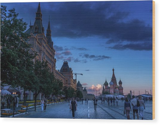 Red Square At Dusk Wood Print
