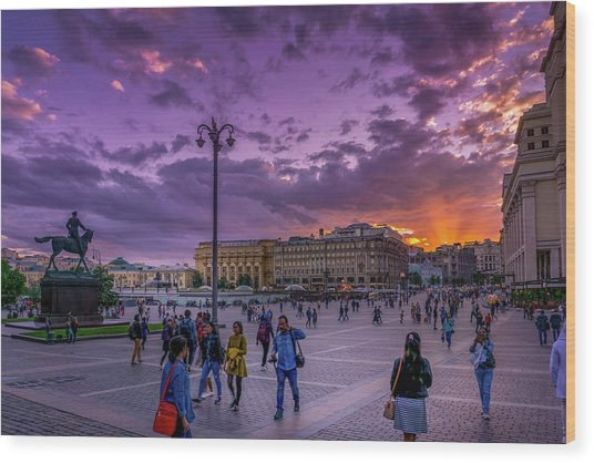 Red Square At Sunset Wood Print