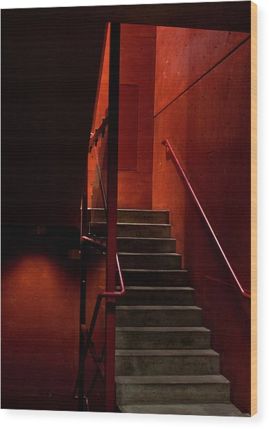 Red Stairs Wood Print