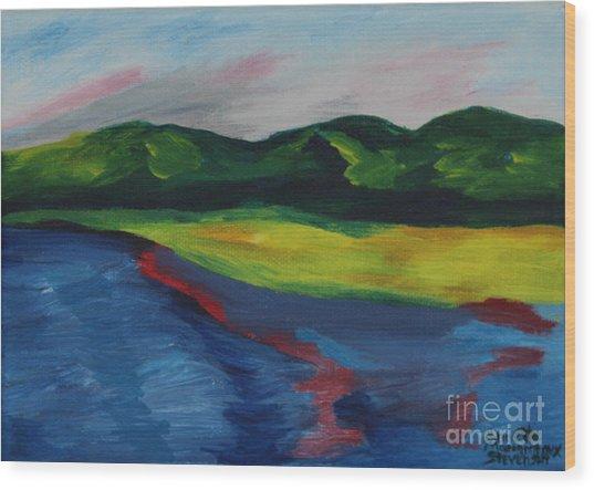 Red Streak Lake Wood Print