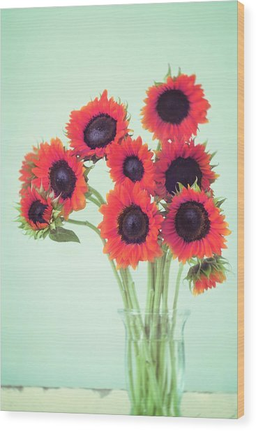 Red Sunflowers Wood Print