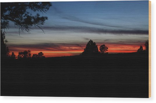 Red Sunset Strip Wood Print