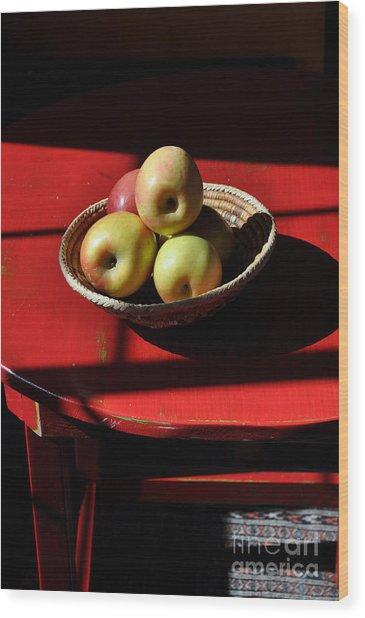 Red Table Apple Still Life Wood Print