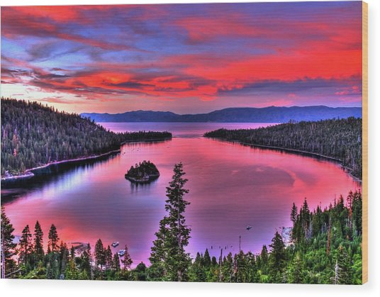 Red Tahoe Wood Print