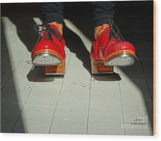 Red Tap Shoes Wood Print