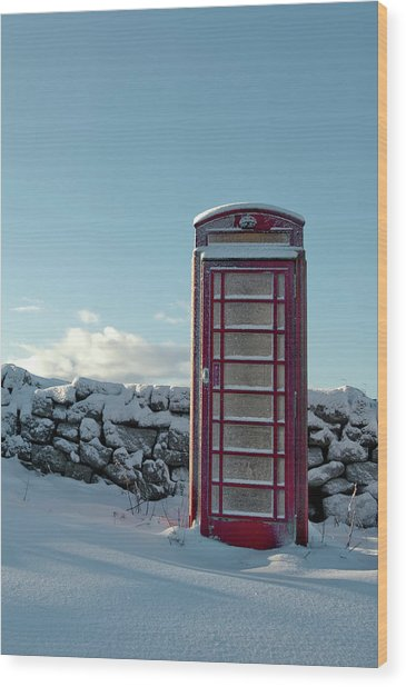 Red Telephone Box In The Snow IIi Wood Print