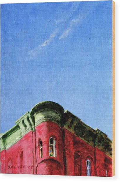 Red Tenement Wood Print