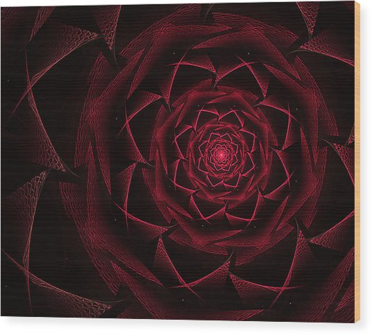 Red Textile Rose Wood Print