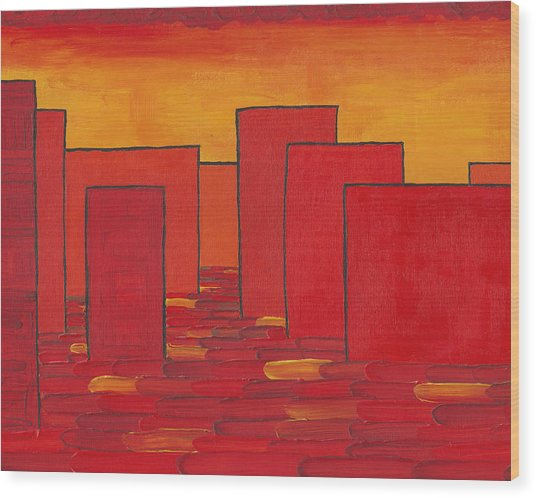 Red Town P1 Wood Print