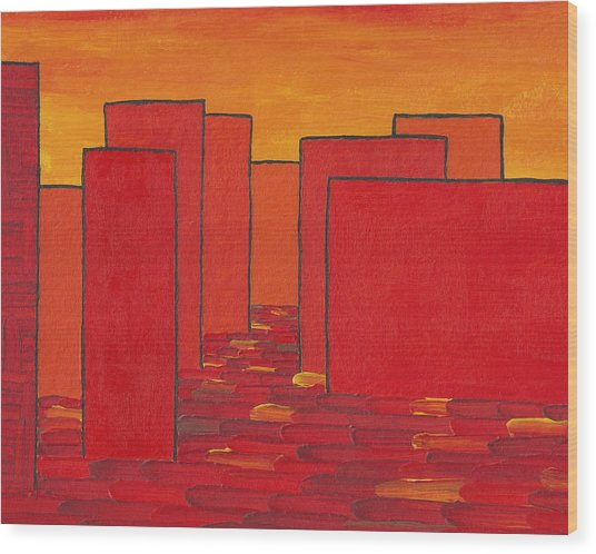 Red Town P2 Wood Print