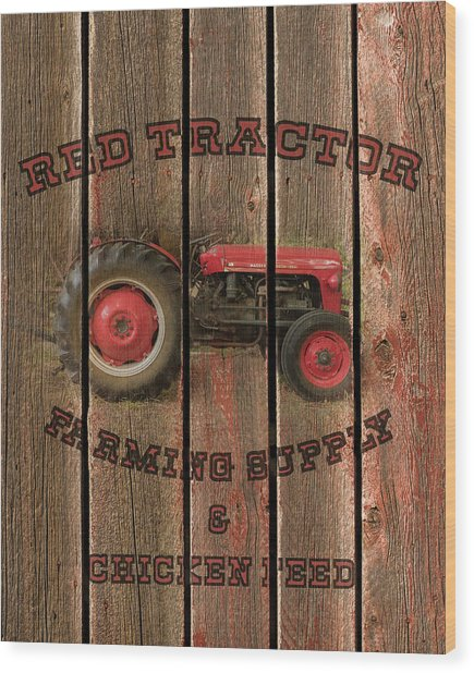 Red Tractor Farming Supply Wood Print