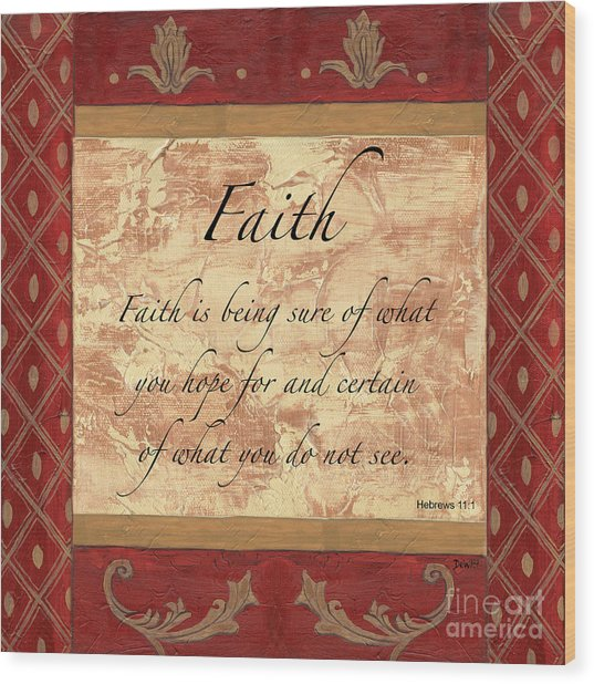 Red Traditional Faith Wood Print