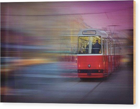 Red Tram In Vienna  Wood Print